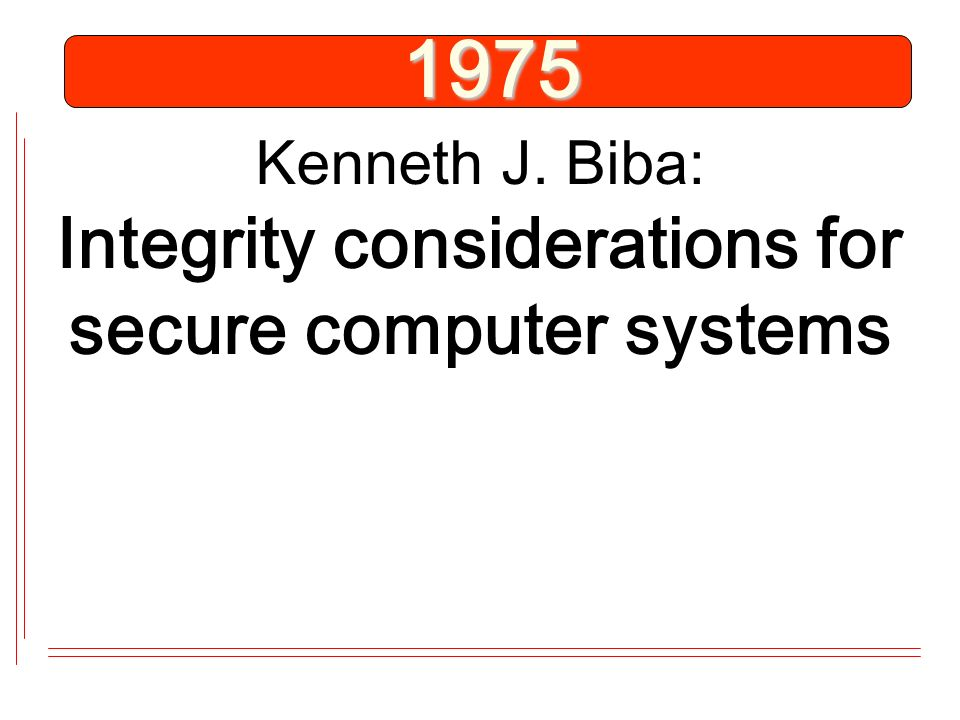 1975 Kenneth J. Biba: Integrity considerations for secure computer systems