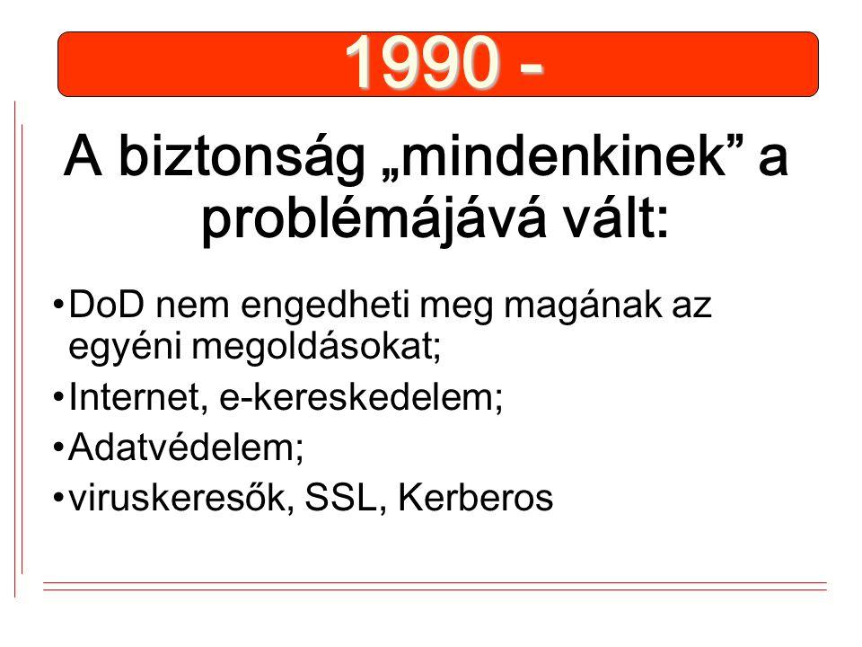 """1990 - A biztonság """"mindenkinek a problémájává vált: DoD nem engedheti meg magának az egyéni megoldásokat; Internet, e-kereskedelem; Adatvédelem; viruskeresők, SSL, Kerberos"""