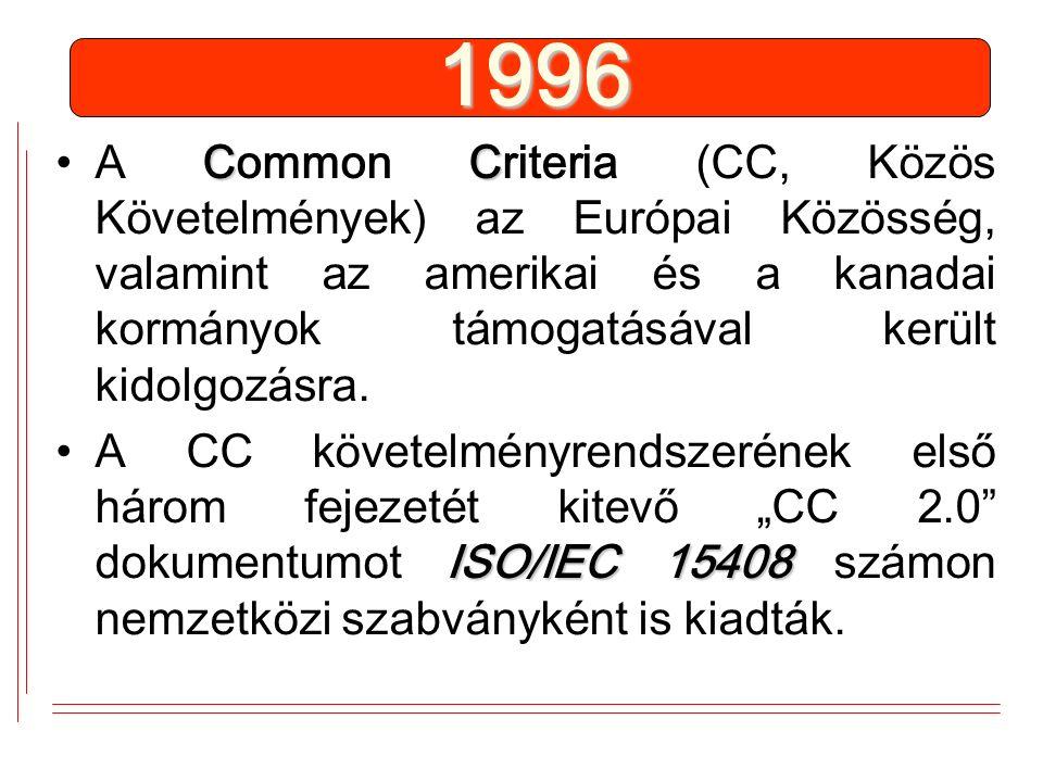 1996 CCA Common Criteria (CC, Közös Követelmények) az Európai Közösség, valamint az amerikai és a kanadai kormányok támogatásával került kidolgozásra.
