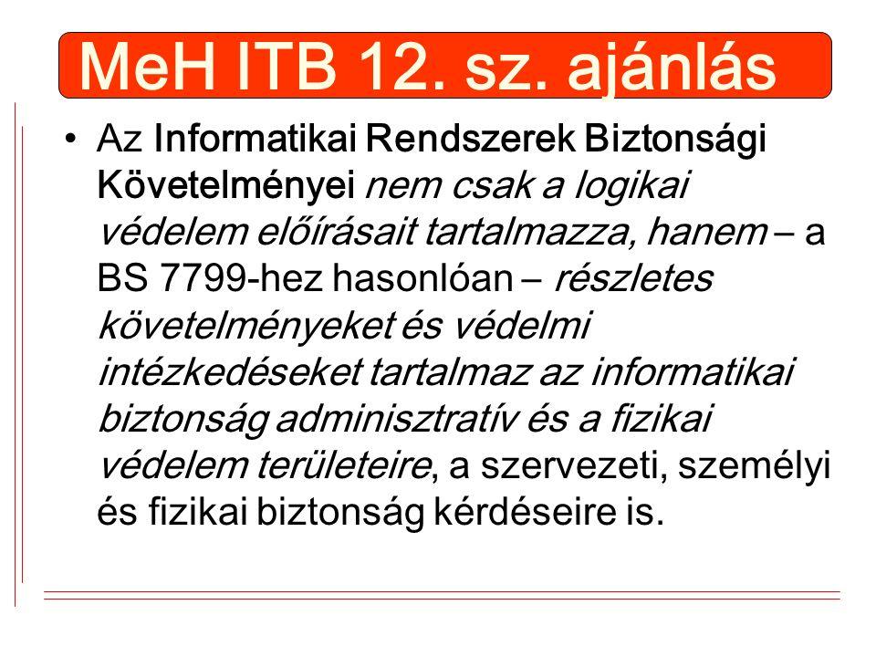 MeH ITB 12. sz. ajánlás Az Informatikai Rendszerek Biztonsági Követelményei nem csak a logikai védelem előírásait tartalmazza, hanem – a BS 7799-hez h