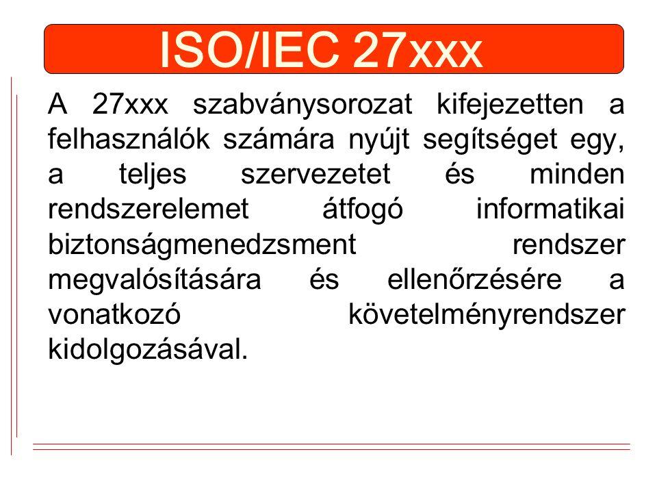 ISO/IEC 27xxx A 27xxx szabványsorozat kifejezetten a felhasználók számára nyújt segítséget egy, a teljes szervezetet és minden rendszerelemet átfogó informatikai biztonságmenedzsment rendszer megvalósítására és ellenőrzésére a vonatkozó követelményrendszer kidolgozásával.