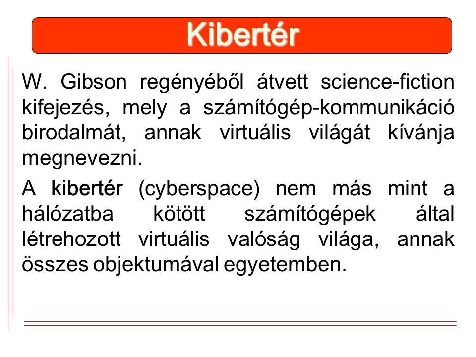 W. Gibson regényéből átvett science-fiction kifejezés, mely a számítógép-kommunikáció birodalmát, annak virtuális világát kívánja megnevezni. A kibert