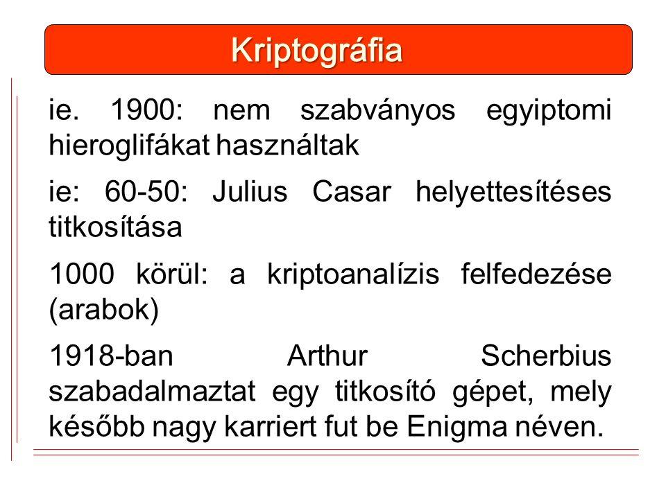 ie. 1900: nem szabványos egyiptomi hieroglifákat használtak ie: 60-50: Julius Casar helyettesítéses titkosítása 1000 körül: a kriptoanalízis felfedezé