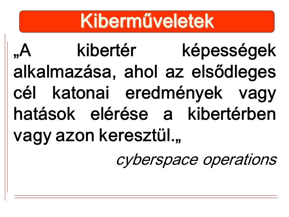 """""""A kibertér képességek alkalmazása, ahol az elsődleges cél katonai eredmények vagy hatások elérése a kibertérben vagy azon keresztül."""" cyberspace operations Kiberműveletek"""