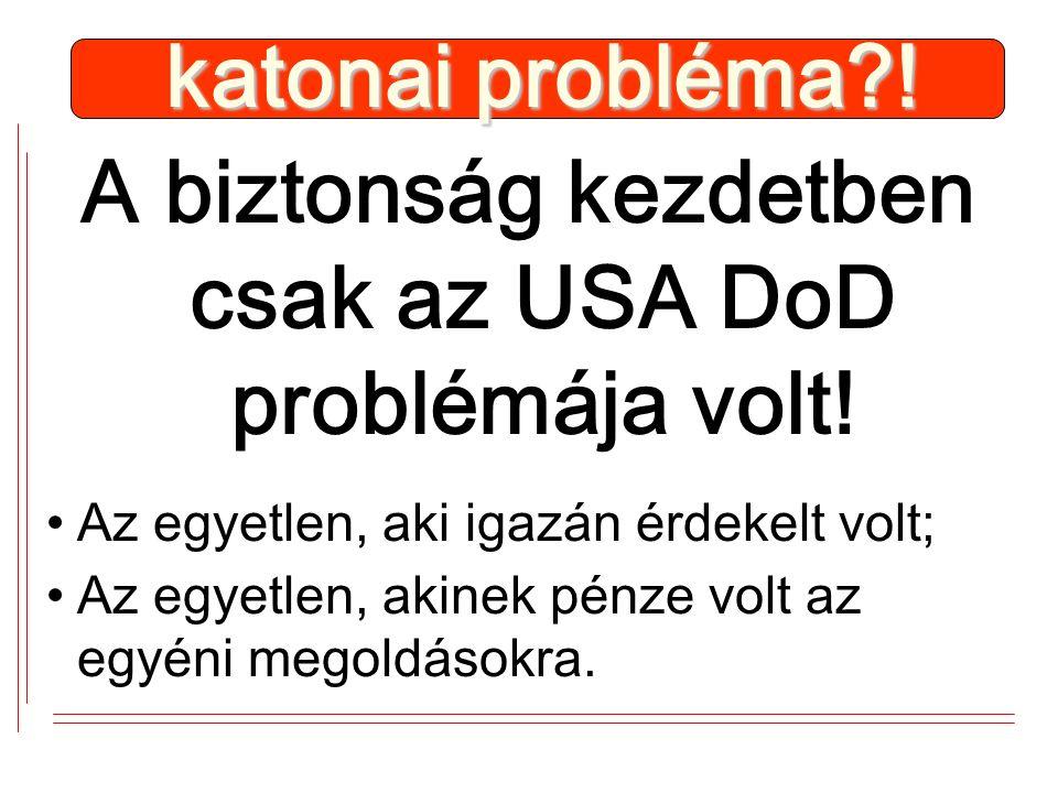 A biztonság kezdetben csak az USA DoD problémája volt.