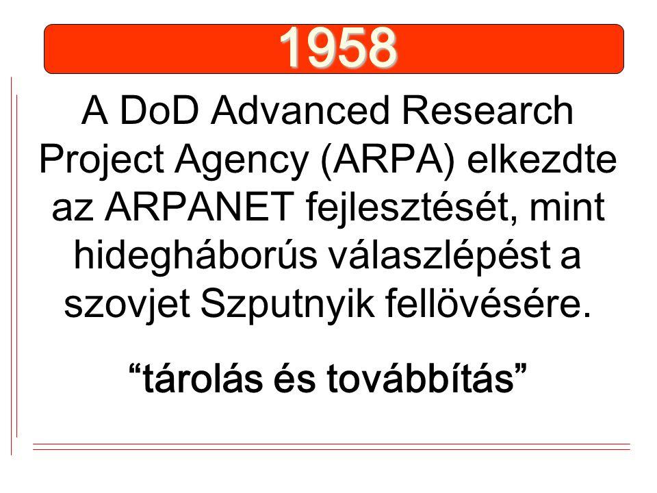 """A DoD Advanced Research Project Agency (ARPA) elkezdte az ARPANET fejlesztését, mint hidegháborús válaszlépést a szovjet Szputnyik fellövésére. """"tárol"""