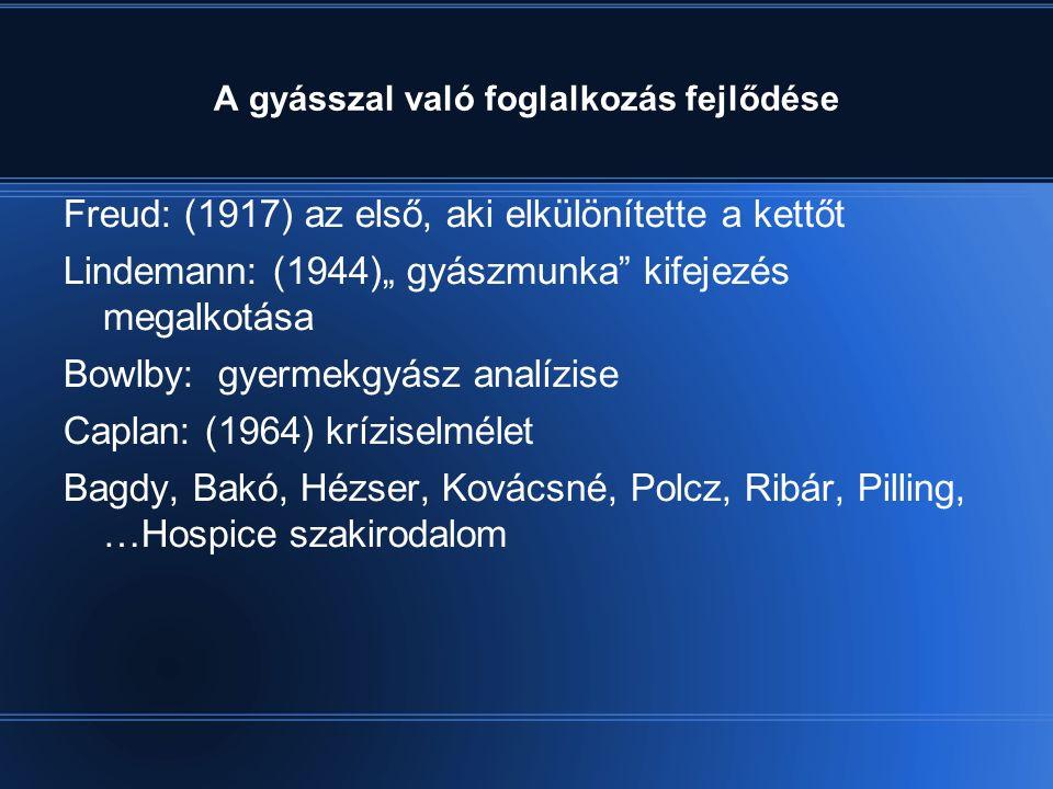 """A gyásszal való foglalkozás fejlődése Freud: (1917) az első, aki elkülönítette a kettőt Lindemann: (1944)"""" gyászmunka kifejezés megalkotása Bowlby: gyermekgyász analízise Caplan: (1964) kríziselmélet Bagdy, Bakó, Hézser, Kovácsné, Polcz, Ribár, Pilling, …Hospice szakirodalom"""