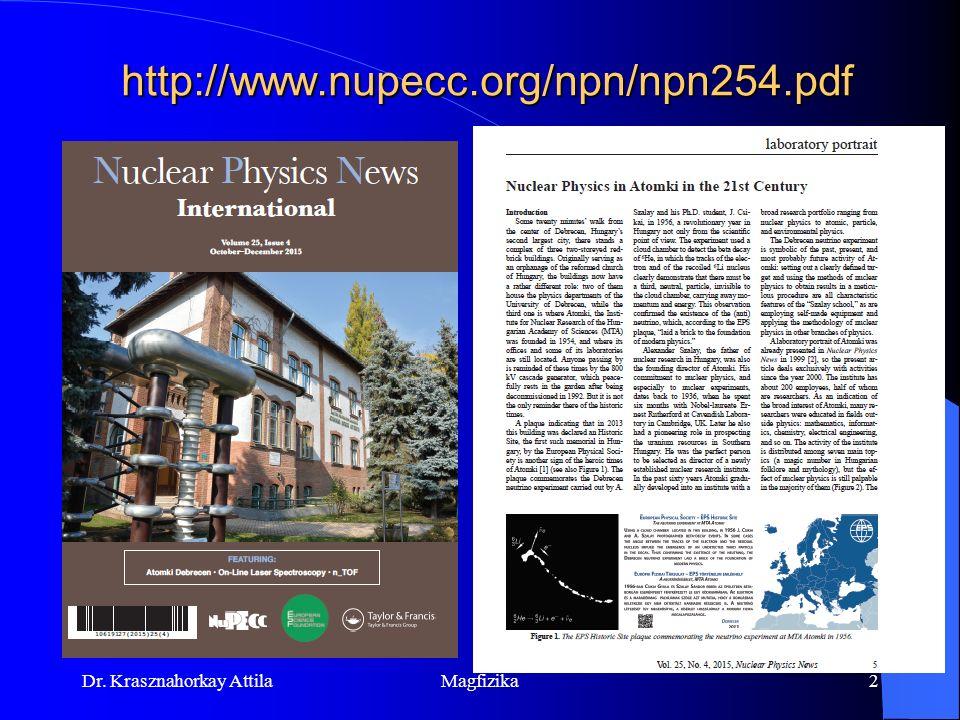 Dr. Krasznahorkay Attila Magfizika1 Atommag és részecskefizika Tematika, történeti áttekintés