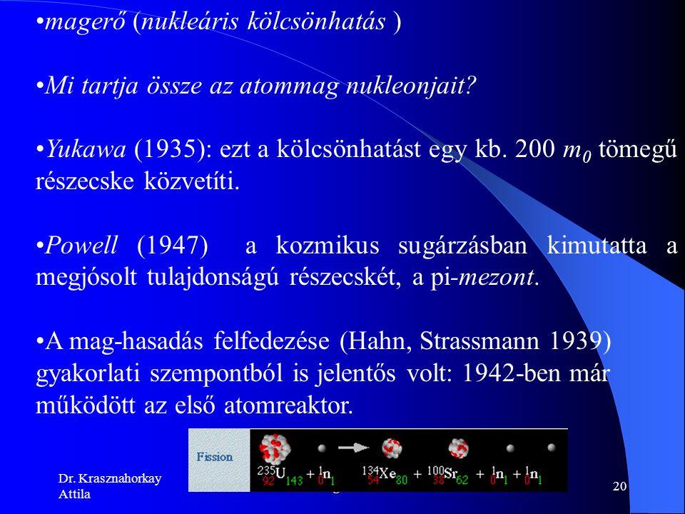 Dr. Krasznahorkay Attila Magfizika19 az atommagok tömegszáma 2 ‑ 2.5-szerese a rendszámnak Chadwick kísérletei (1932) Heisenberg és Ivanenko: az A töm
