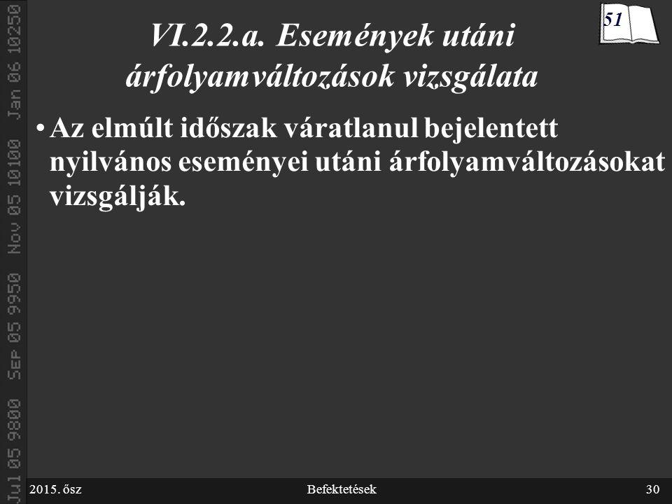 2015. őszBefektetések30 VI.2.2.a.