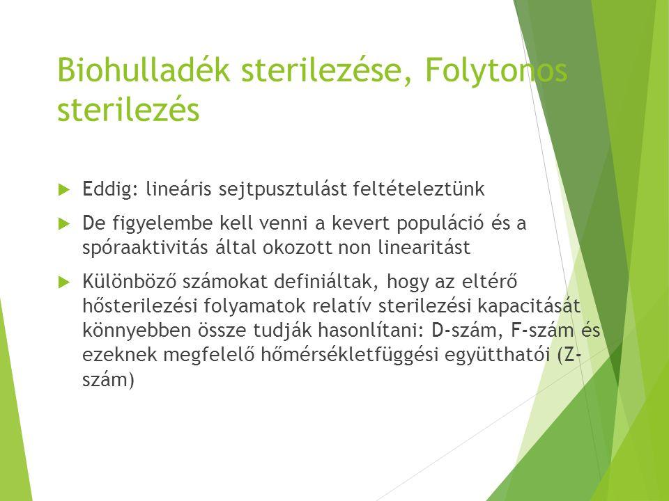 Biohulladék sterilezése, Folytonos sterilezés  Eddig: lineáris sejtpusztulást feltételeztünk  De figyelembe kell venni a kevert populáció és a spóra