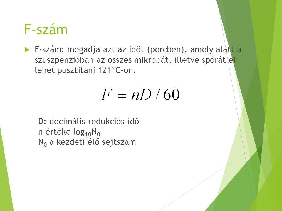 F-szám  F-szám: megadja azt az időt (percben), amely alatt a szuszpenzióban az összes mikrobát, illetve spórát el lehet pusztítani 121°C-on. D: decim