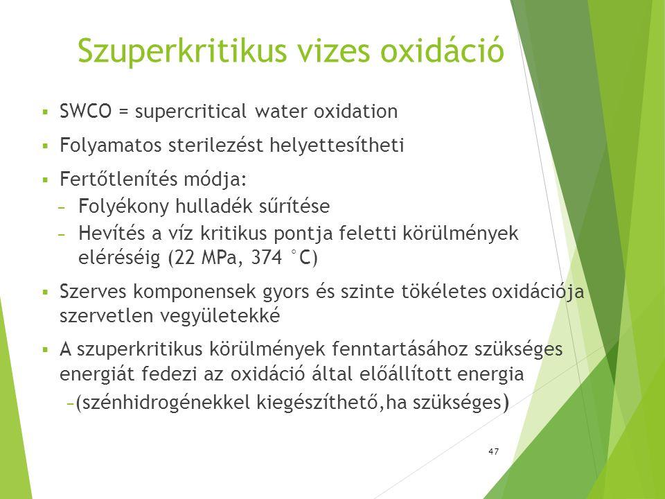 Szuperkritikus vizes oxidáció  SWCO = supercritical water oxidation  Folyamatos sterilezést helyettesítheti  Fertőtlenítés módja: − Folyékony hulla