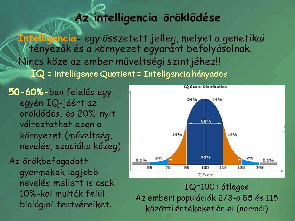Az intelligencia öröklődése Intelligencia= egy összetett jelleg, melyet a genetikai tényezők és a környezet egyaránt befolyásolnak. Nincs köze az embe