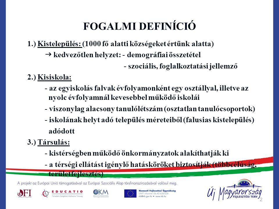 2 FOGALMI DEFINÍCIÓ 1.) Kistelepülés: (1000 fő alatti községeket értünk alatta)  kedvezőtlen helyzet: - demográfiai összetétel - szociális, foglalkoz