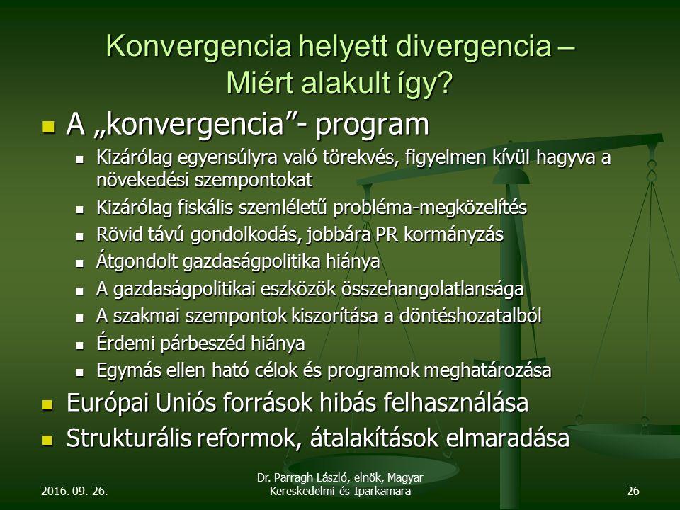 """Konvergencia helyett divergencia – Miért alakult így? A """"konvergencia""""- program A """"konvergencia""""- program Kizárólag egyensúlyra való törekvés, figyelm"""