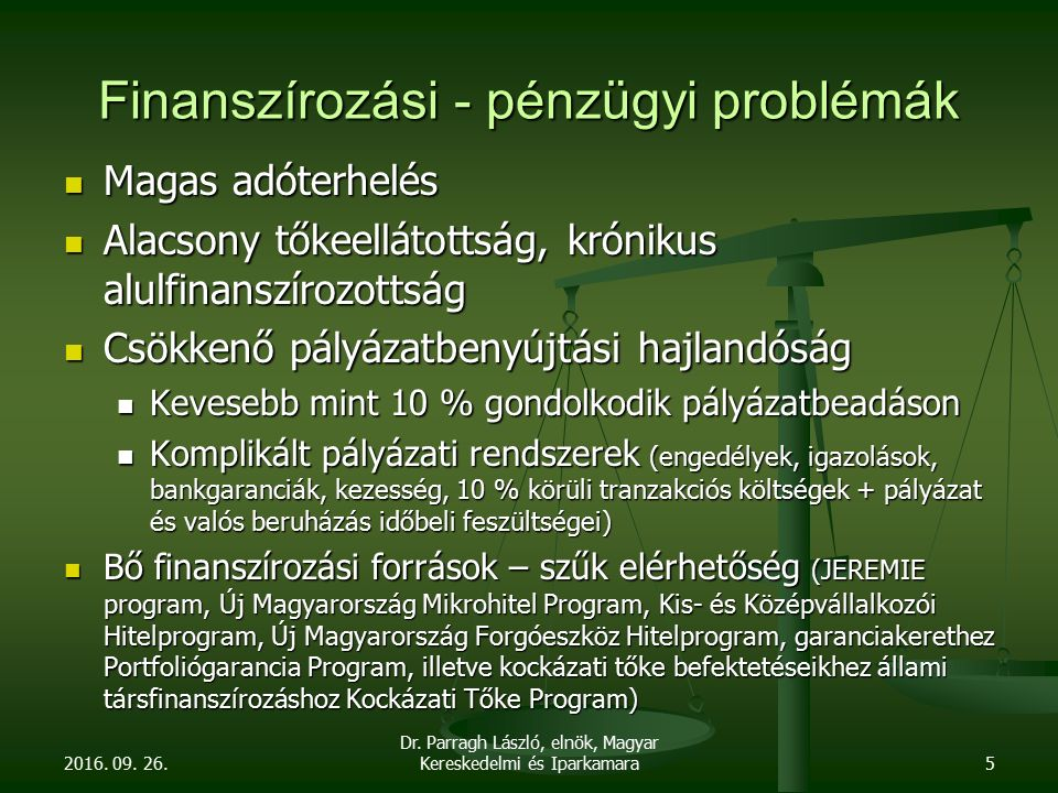 Finanszírozási - pénzügyi problémák Magas adóterhelés Magas adóterhelés Alacsony tőkeellátottság, krónikus alulfinanszírozottság Alacsony tőkeellátott