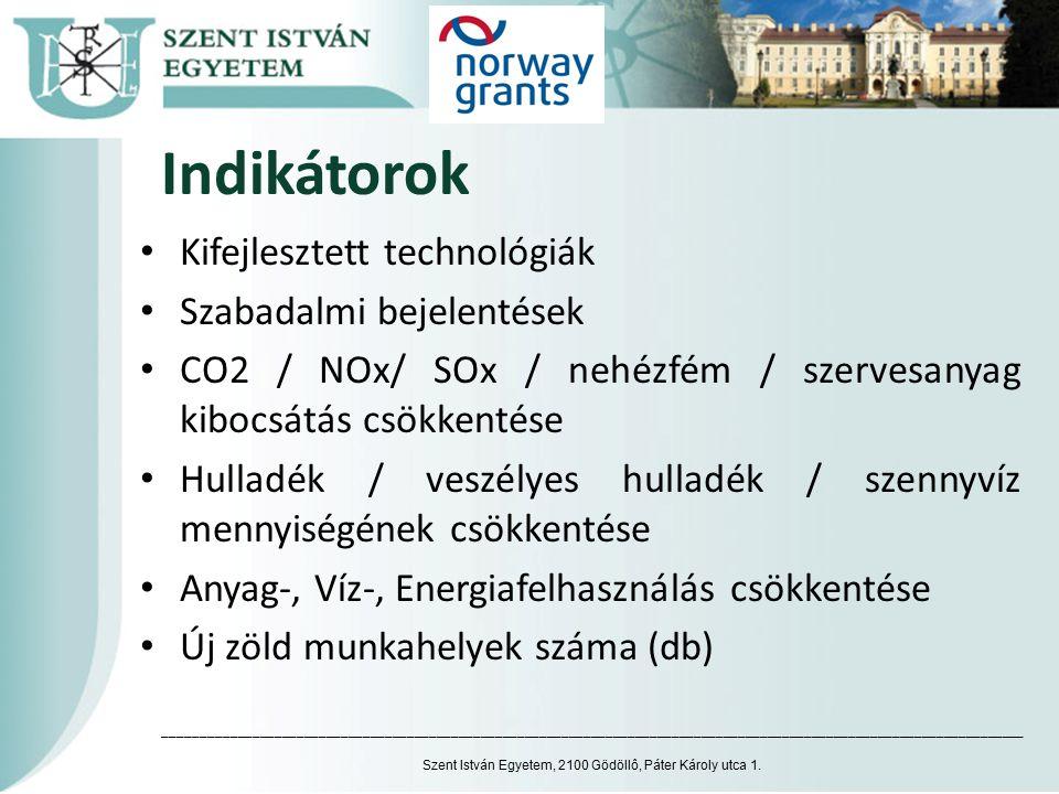 Indikátorok Kifejlesztett technológiák Szabadalmi bejelentések CO2 / NOx/ SOx / nehézfém / szervesanyag kibocsátás csökkentése Hulladék / veszélyes hulladék / szennyvíz mennyiségének csökkentése Anyag-, Víz-, Energiafelhasználás csökkentése Új zöld munkahelyek száma (db) Szent István Egyetem, 2100 Gödöllô, Páter Károly utca 1.