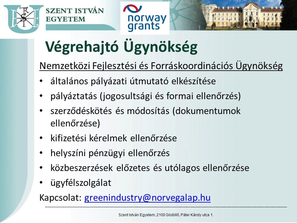 Végrehajtó Ügynökség Nemzetközi Fejlesztési és Forráskoordinációs Ügynökség általános pályázati útmutató elkészítése pályáztatás (jogosultsági és formai ellenőrzés) szerződéskötés és módosítás (dokumentumok ellenőrzése) kifizetési kérelmek ellenőrzése helyszíni pénzügyi ellenőrzés közbeszerzések előzetes és utólagos ellenőrzése ügyfélszolgálat Kapcsolat: greenindustry@norvegalap.hugreenindustry@norvegalap.hu Szent István Egyetem, 2100 Gödöllô, Páter Károly utca 1.