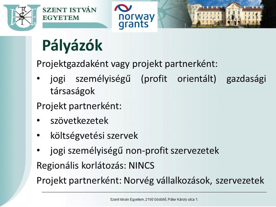 Pályázók Projektgazdaként vagy projekt partnerként: jogi személyiségű (profit orientált) gazdasági társaságok Projekt partnerként: szövetkezetek költs