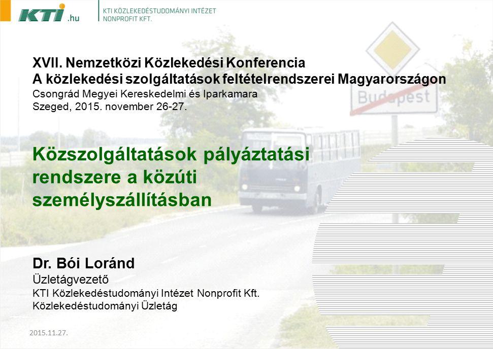Dr. Bói Loránd Üzletágvezető KTI Közlekedéstudományi Intézet Nonprofit Kft.