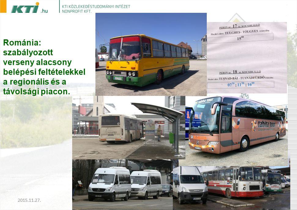 Románia: szabályozott verseny alacsony belépési feltételekkel a regionális és a távolsági piacon.
