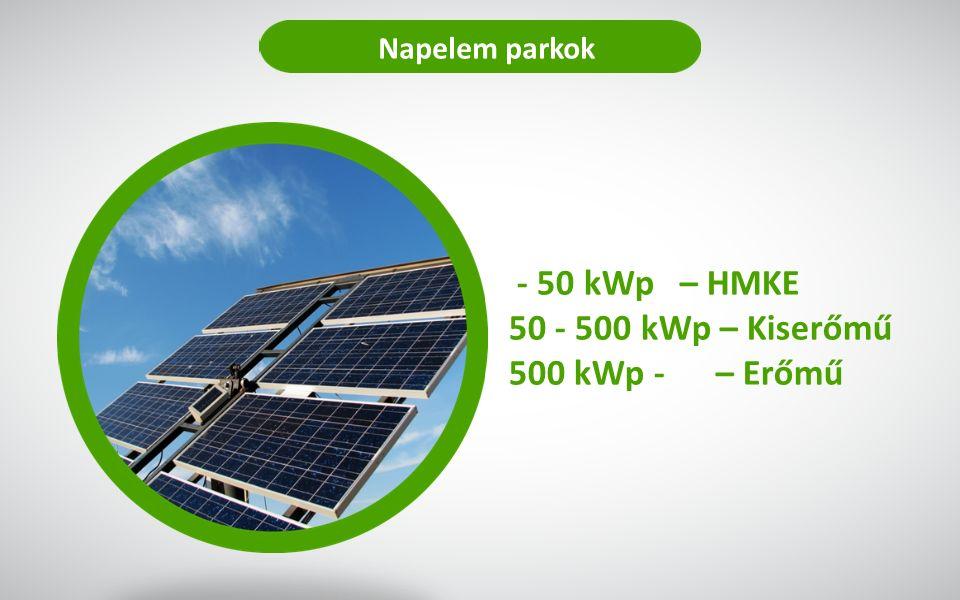 Napelem parkok - 50 kWp – HMKE 50 - 500 kWp – Kiserőmű 500 kWp - – Erőmű