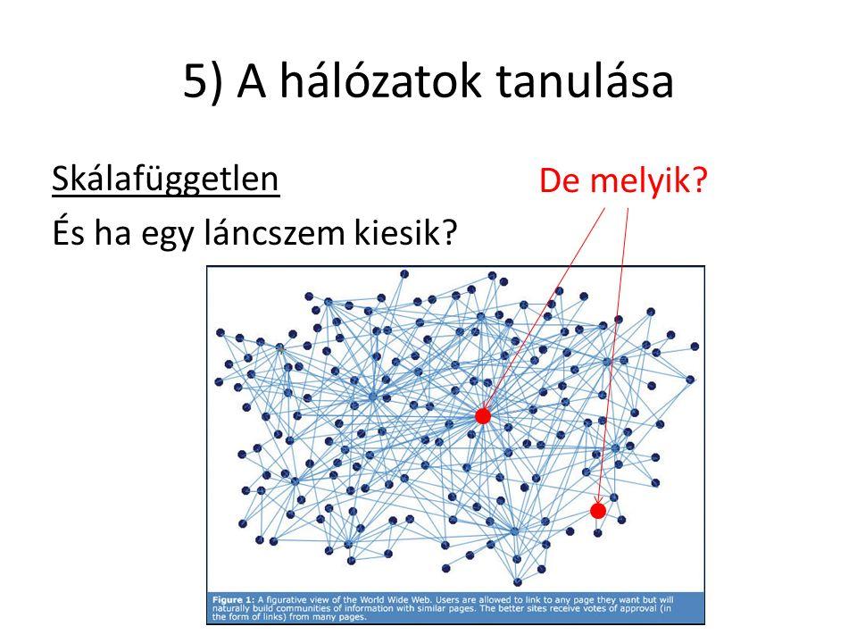 5) A hálózatok tanulása Skálafüggetlen És ha egy láncszem kiesik De melyik