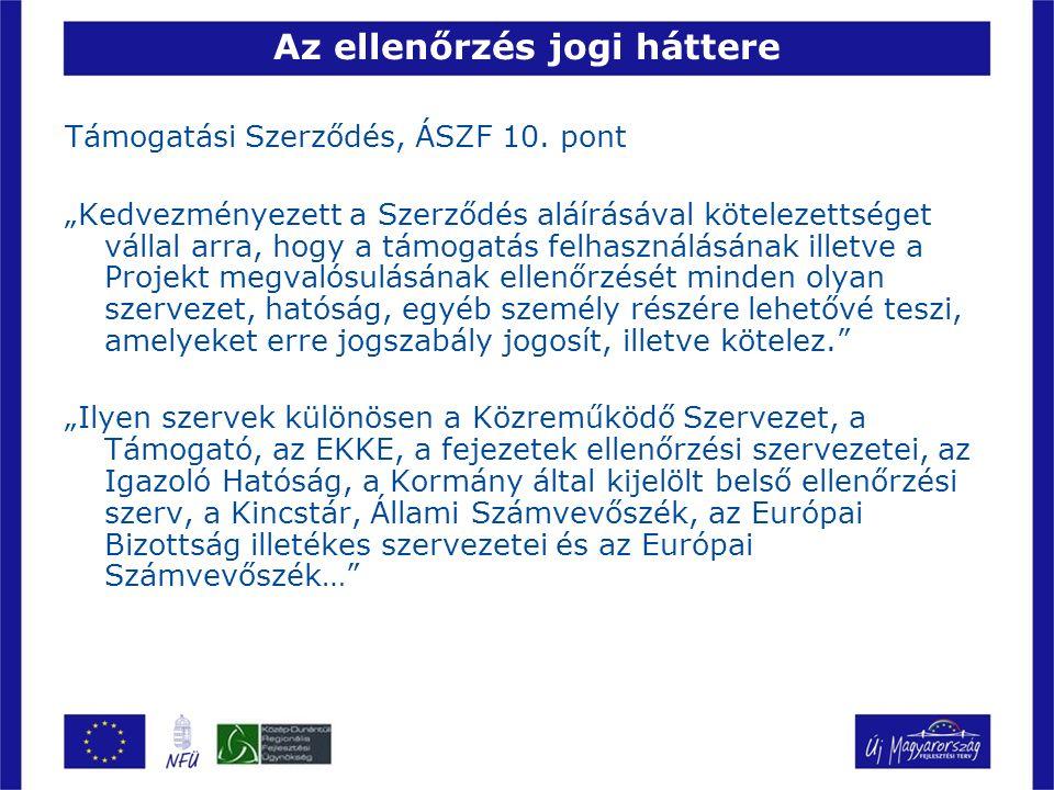 Az ellenőrzés jogi háttere Támogatási Szerződés, ÁSZF 10.