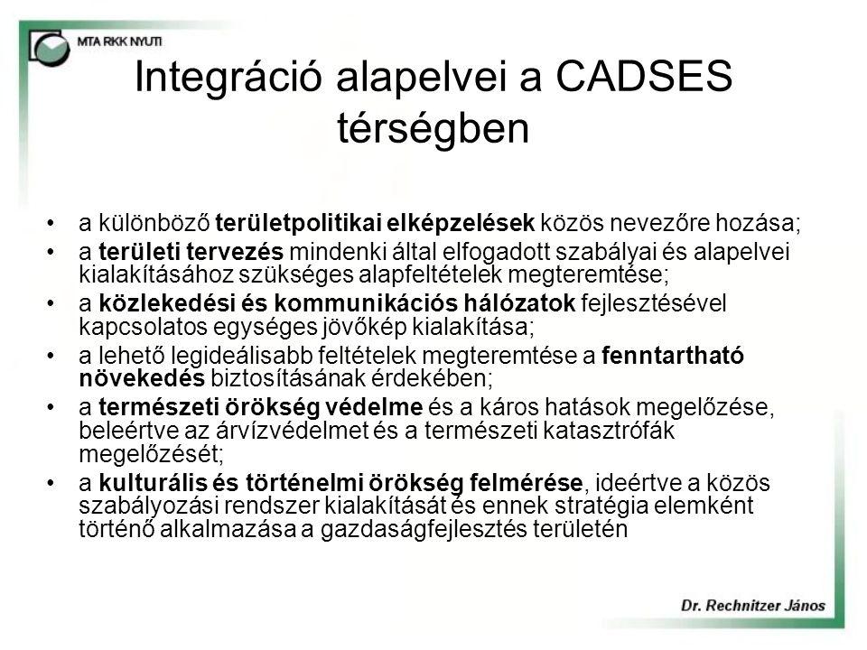 Integráció alapelvei a CADSES térségben a különböző területpolitikai elképzelések közös nevezőre hozása; a területi tervezés mindenki által elfogadott szabályai és alapelvei kialakításához szükséges alapfeltételek megteremtése; a közlekedési és kommunikációs hálózatok fejlesztésével kapcsolatos egységes jövőkép kialakítása; a lehető legideálisabb feltételek megteremtése a fenntartható növekedés biztosításának érdekében; a természeti örökség védelme és a káros hatások megelőzése, beleértve az árvízvédelmet és a természeti katasztrófák megelőzését; a kulturális és történelmi örökség felmérése, ideértve a közös szabályozási rendszer kialakítását és ennek stratégia elemként történő alkalmazása a gazdaságfejlesztés területén
