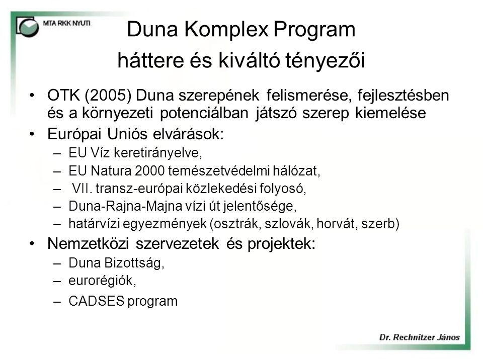 Duna Komplex Program háttere és kiváltó tényezői OTK (2005) Duna szerepének felismerése, fejlesztésben és a környezeti potenciálban játszó szerep kiemelése Európai Uniós elvárások: –EU Víz keretirányelve, –EU Natura 2000 temészetvédelmi hálózat, – VII.