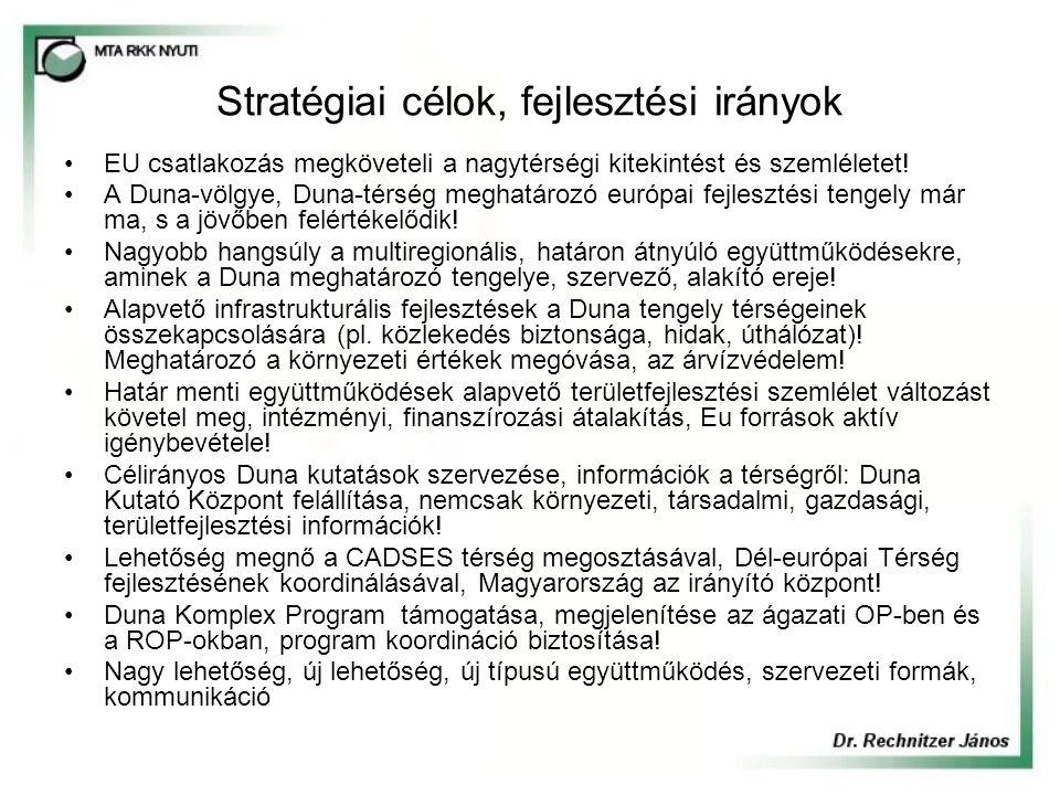 Stratégiai célok, fejlesztési irányok EU csatlakozás megköveteli a nagytérségi kitekintést és szemléletet! A Duna-völgye, Duna-térség meghatározó euró