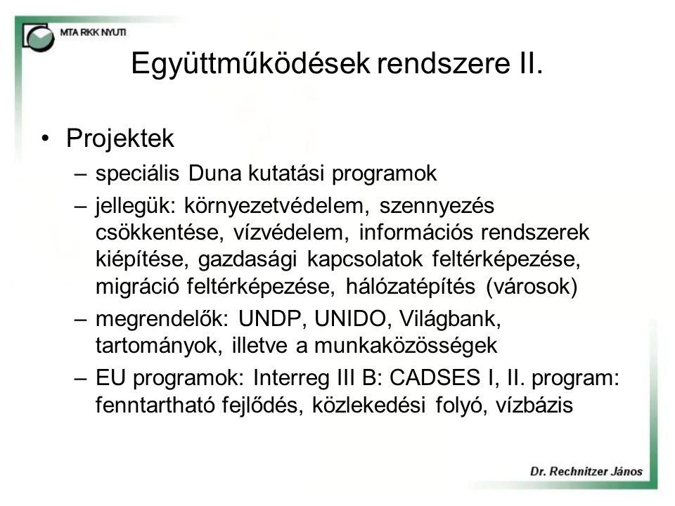 Együttműködések rendszere II. Projektek –speciális Duna kutatási programok –jellegük: környezetvédelem, szennyezés csökkentése, vízvédelem, információ