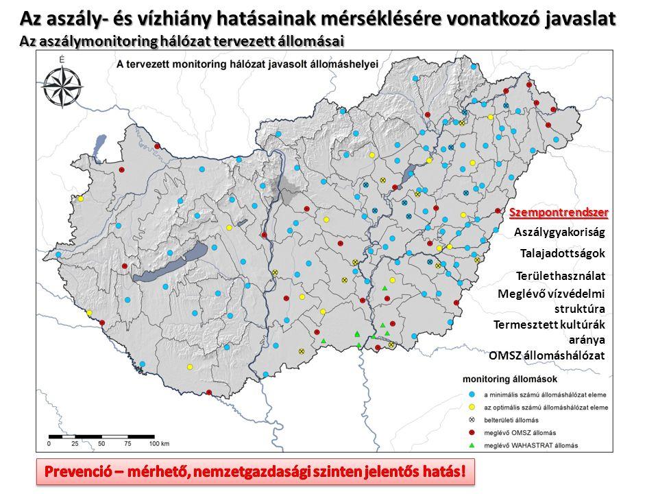 Az aszály- és vízhiány hatásainak mérséklésére vonatkozó javaslat Az aszálymonitoring hálózat tervezett állomásai Aszálygyakoriság Talajadottságok Területhasználat Meglévő vízvédelmi struktúra Termesztett kultúrák aránya OMSZ állomáshálózat Szempontrendszer