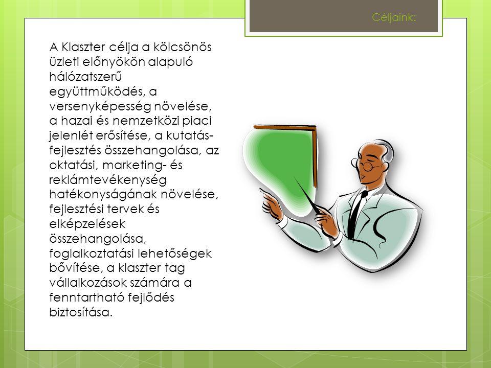 Céljaink: A Klaszter célja a kölcsönös üzleti előnyökön alapuló hálózatszerű együttműködés, a versenyképesség növelése, a hazai és nemzetközi piaci jelenlét erősítése, a kutatás- fejlesztés összehangolása, az oktatási, marketing- és reklámtevékenység hatékonyságának növelése, fejlesztési tervek és elképzelések összehangolása, foglalkoztatási lehetőségek bővítése, a klaszter tag vállalkozások számára a fenntartható fejlődés biztosítása.