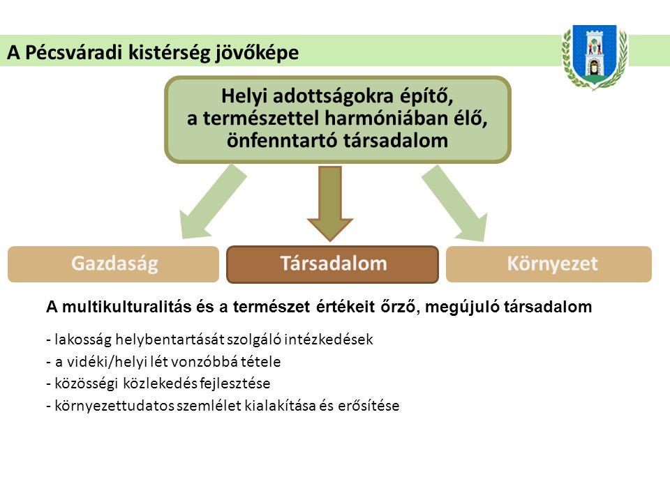 A Pécsváradi kistérség jövőképe Helyi adottságokra építő, a természettel harmóniában élő, önfenntartó társadalom A multikulturalitás és a természet értékeit őrző, megújuló társadalom - lakosság helybentartását szolgáló intézkedések - a vidéki/helyi lét vonzóbbá tétele - közösségi közlekedés fejlesztése - környezettudatos szemlélet kialakítása és erősítése GazdaságTársadalom Környezet