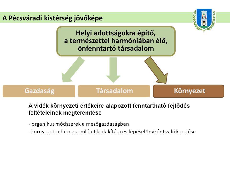 A Pécsváradi kistérség jövőképe Helyi adottságokra építő, a természettel harmóniában élő, önfenntartó társadalom A vidék környezeti értékeire alapozott fenntartható fejlődés feltételeinek megteremtése - organikus módszerek a mezőgazdaságban - környezettudatos szemlélet kialakítása és lépéselőnyként való kezelése GazdaságTársadalom Környezet