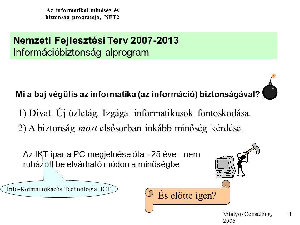 Vitályos Consulting, 2006 Az informatikai minőség és biztonság programja, NFT2 1 Nemzeti Fejlesztési Terv 2007-2013 Információbiztonság alprogram Mi a baj végülis az informatika (az információ) biztonságával.
