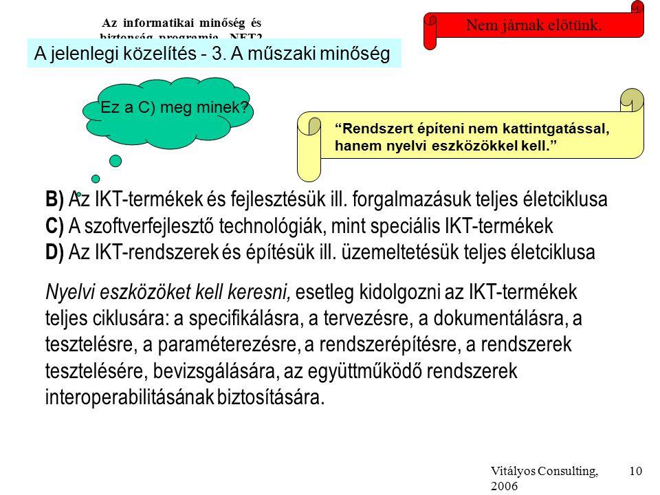 Vitályos Consulting, 2006 Az informatikai minőség és biztonság programja, NFT2 10 Nem járnak előtünk.