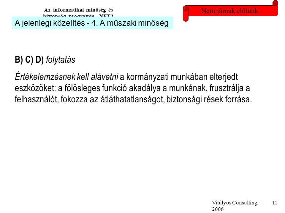 Vitályos Consulting, 2006 Az informatikai minőség és biztonság programja, NFT2 11 Nem járnak előtünk.
