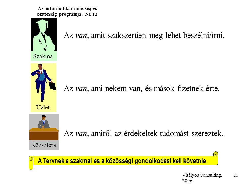 Vitályos Consulting, 2006 Az informatikai minőség és biztonság programja, NFT2 15 Szakma Üzlet Közszféra Az van, amit szakszerűen meg lehet beszélni/írni.