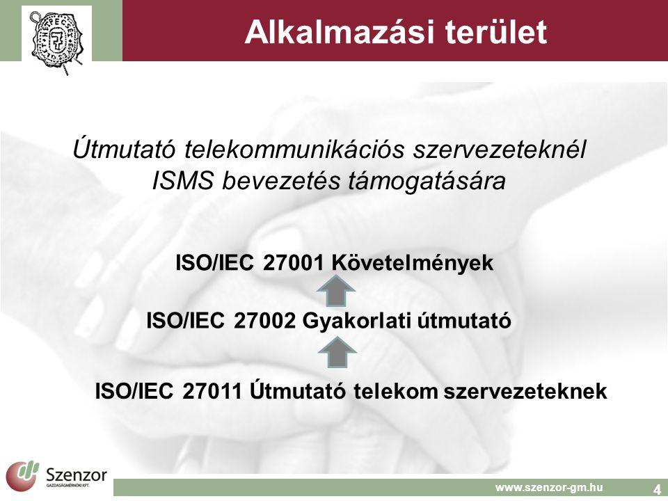 4 www.szenzor-gm.hu Alkalmazási terület Útmutató telekommunikációs szervezeteknél ISMS bevezetés támogatására ISO/IEC 27001 Követelmények ISO/IEC 27002 Gyakorlati útmutató ISO/IEC 27011 Útmutató telekom szervezeteknek