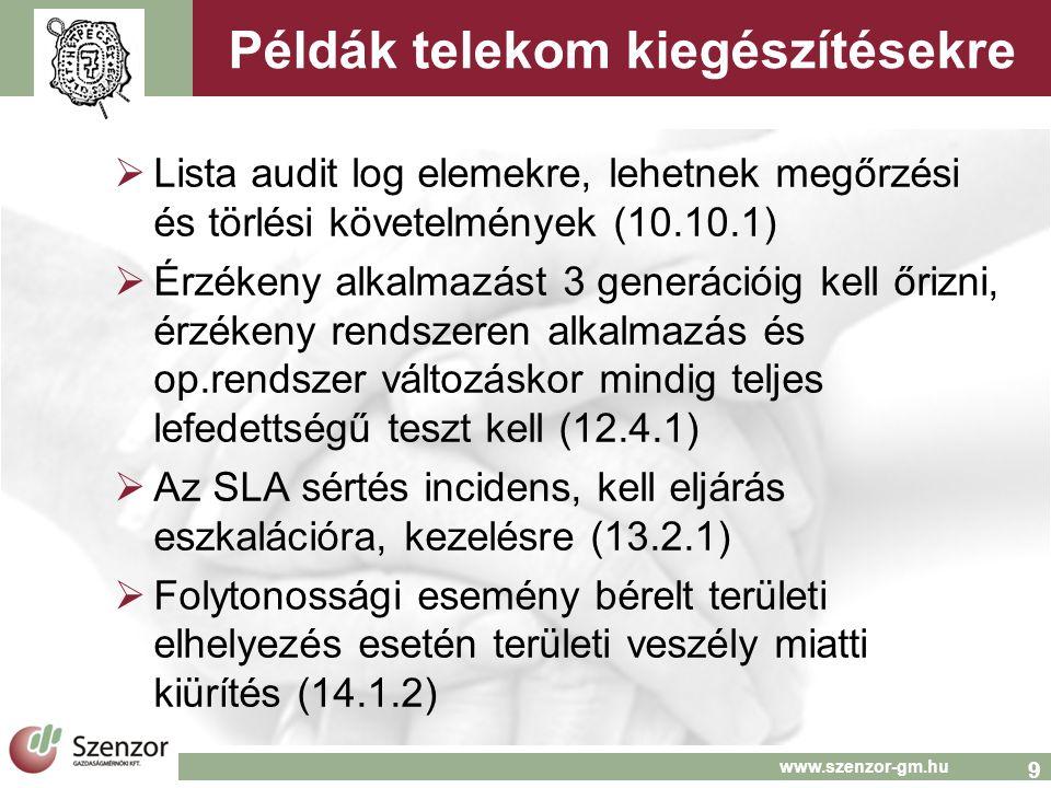 10 www.szenzor-gm.hu A melléklet: + kontrollok  A.9.1.7/8 Komm.