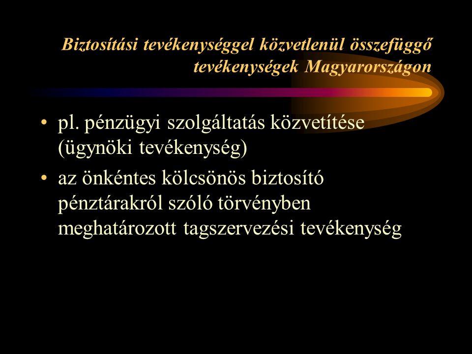 Biztosítási tevékenységgel közvetlenül összefüggő tevékenységek Magyarországon pl.