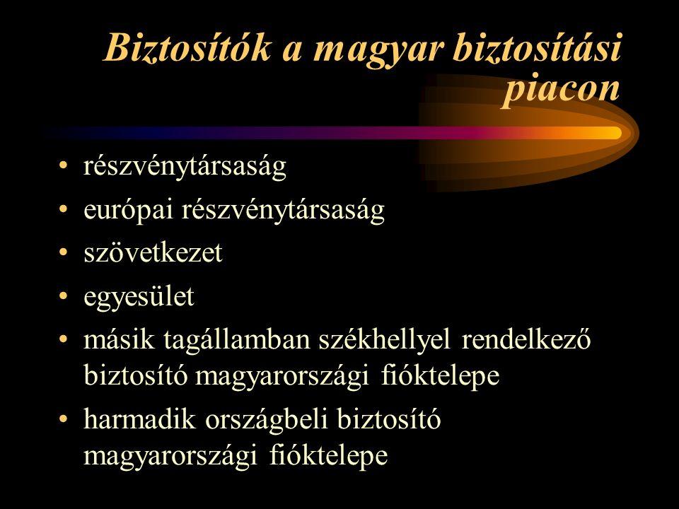 Biztosítók a magyar biztosítási piacon részvénytársaság európai részvénytársaság szövetkezet egyesület másik tagállamban székhellyel rendelkező biztosító magyarországi fióktelepe harmadik országbeli biztosító magyarországi fióktelepe