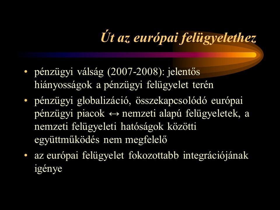 Út az európai felügyelethez pénzügyi válság (2007-2008): jelentős hiányosságok a pénzügyi felügyelet terén pénzügyi globalizáció, összekapcsolódó európai pénzügyi piacok ↔ nemzeti alapú felügyeletek, a nemzeti felügyeleti hatóságok közötti együttműködés nem megfelelő az európai felügyelet fokozottabb integrációjának igénye
