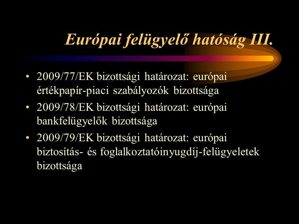 Európai felügyelő hatóság III.