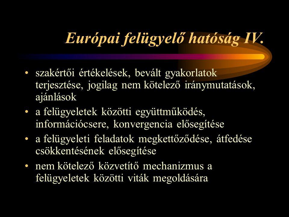 Európai felügyelő hatóság IV.