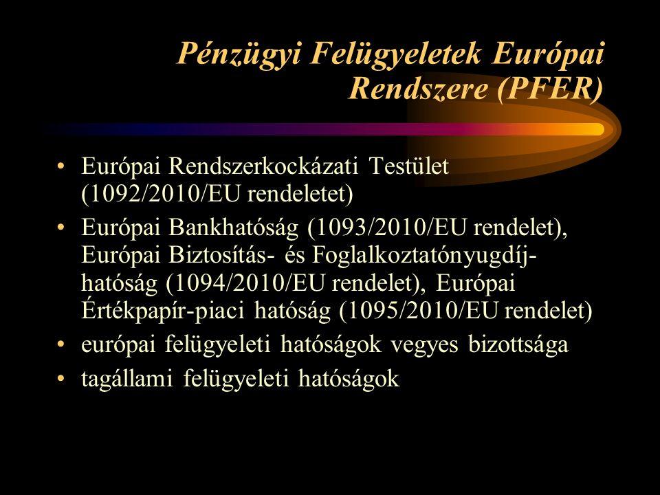 Pénzügyi Felügyeletek Európai Rendszere (PFER) Európai Rendszerkockázati Testület (1092/2010/EU rendeletet) Európai Bankhatóság (1093/2010/EU rendelet), Európai Biztosítás- és Foglalkoztatónyugdíj- hatóság (1094/2010/EU rendelet), Európai Értékpapír-piaci hatóság (1095/2010/EU rendelet) európai felügyeleti hatóságok vegyes bizottsága tagállami felügyeleti hatóságok