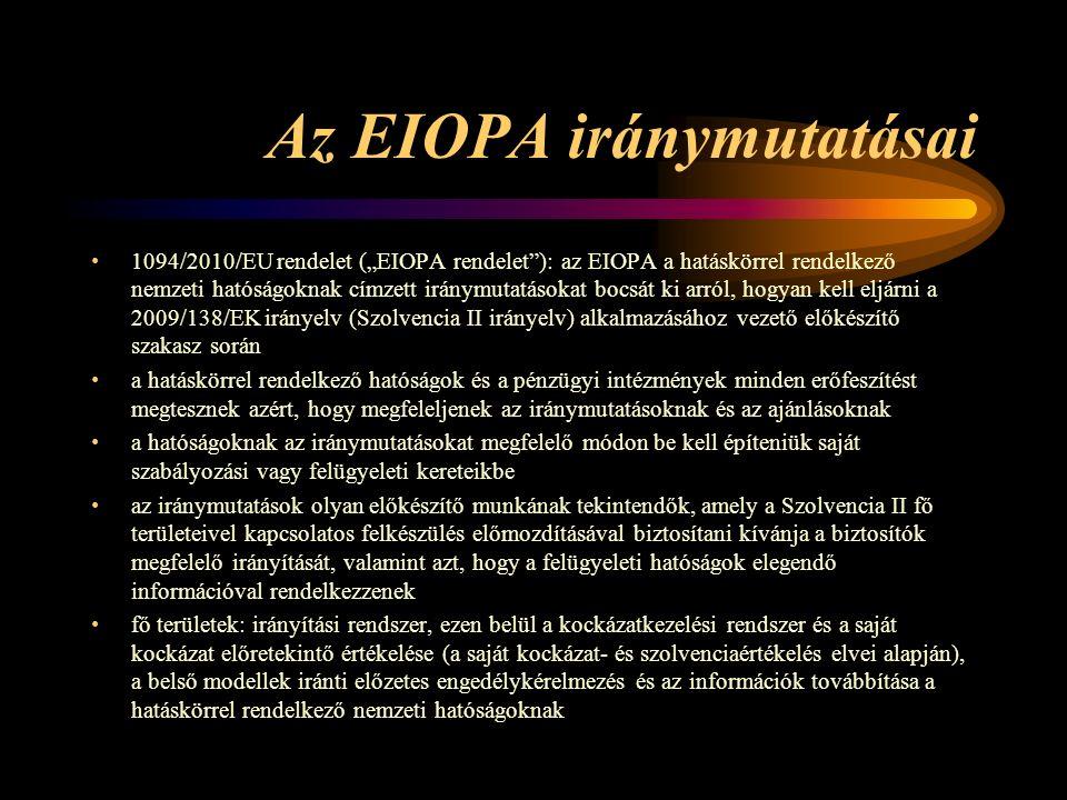"""Az EIOPA iránymutatásai 1094/2010/EU rendelet (""""EIOPA rendelet ): az EIOPA a hatáskörrel rendelkező nemzeti hatóságoknak címzett iránymutatásokat bocsát ki arról, hogyan kell eljárni a 2009/138/EK irányelv (Szolvencia II irányelv) alkalmazásához vezető előkészítő szakasz során a hatáskörrel rendelkező hatóságok és a pénzügyi intézmények minden erőfeszítést megtesznek azért, hogy megfeleljenek az iránymutatásoknak és az ajánlásoknak a hatóságoknak az iránymutatásokat megfelelő módon be kell építeniük saját szabályozási vagy felügyeleti kereteikbe az iránymutatások olyan előkészítő munkának tekintendők, amely a Szolvencia II fő területeivel kapcsolatos felkészülés előmozdításával biztosítani kívánja a biztosítók megfelelő irányítását, valamint azt, hogy a felügyeleti hatóságok elegendő információval rendelkezzenek fő területek: irányítási rendszer, ezen belül a kockázatkezelési rendszer és a saját kockázat előretekintő értékelése (a saját kockázat- és szolvenciaértékelés elvei alapján), a belső modellek iránti előzetes engedélykérelmezés és az információk továbbítása a hatáskörrel rendelkező nemzeti hatóságoknak"""